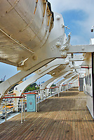 RMS Queen Mary, Port Side Lifeboats, Wood Teak Deck, Long Beach, CA, California, USA High dynamic range imaging (HDRI or HDR)