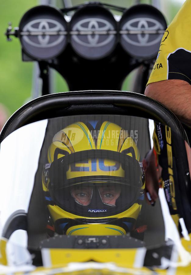 May 10, 2013; Commerce, GA, USA: NHRA top fuel dragster driver Morgan Lucas during qualifying for the Southern Nationals at Atlanta Dragway. Mandatory Credit: Mark J. Rebilas-