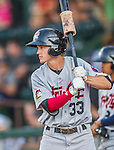 20 August 2015: Tri-City ValleyCats outfielder Johnny Sewald awaits the start of play against the Vermont Lake Monsters at Centennial Field in Burlington, Vermont. The Stedler Division-leading ValleyCats defeated the Lake Monsters 5-2 in NY Penn League action. Mandatory Credit: Ed Wolfstein Photo *** RAW Image File Available ****