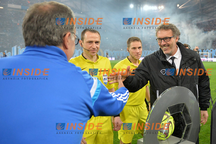 Laurent Blanc (psg) - Marcelo Bielsa (om) <br /> Football Calcio 2014/2015<br /> Ligue 1 Francia Stadio VelodromeOlympique Marsiglia - Paris Saint Germain <br /> Foto Panoramic / Insidefoto <br /> ITALY ONLY