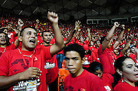 Members of the political front Frente Francisco de Miranda expressing support for the The Bolivarian Revolution concept and for President Hugo Chavez during the annual summit of the front in Caracas, Venezuela, 29 June 2006. Frente Francisco de Miranda is a youth organization, with direct connection to the Venezuelan left-wing parties. Frente Francisco de Miranda claims to fight for poverty eradication and to reach social equality. The movement is protected by the President Hugo Chavez and is loyal to his Bolivarian Revolution ideology.