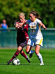 19 September 2010: University of Vermont Catamount defender Heidi Hassler, a Senior from Westford, VT, in action against Colgate University Raider Danielle Wessler, a Junior from Port Republic, NJ, at Centennial Field in Burlington, Vermont. The Raiders scored a pair of second half goals two minutes apart to notch a 2-0 victory over the Lady Cats in non-conference women's soccer play. Mandatory Credit: Ed Wolfstein Photo