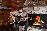 Henry Wagons by the fire at the Jagermeister Hunting Lodge, Docklands, Melbourne, 9 October 2011