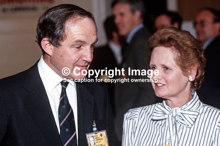 George Younger, MP, UK, Defence Minister, Conservative Party, with wife, Diana, at 1987 party conference. 19870506GY+DY2.<br /> <br /> Copyright Image from Victor Patterson, 54 Dorchester Park, <br /> Belfast, UK, BT9 6RJ<br /> <br /> t1: +44 28 9066 1296 (from Rep of Ireland 048 9066 1296)<br /> t2: +44 28 9002 2446 (from Rep of Ireland 048 9002 2446)<br /> m: +44 7802 353836<br /> <br /> e1: victorpatterson@me.com<br /> e2: victorpatterson@gmail.com<br /> <br /> www.victorpatterson.com<br /> <br /> Please see my Terms and Conditions of Use at www.victorpatterson.com. It is IMPORTANT that you familiarise yourself with them.<br /> <br /> Images used on the Internet must be visibly watermarked i.e. &copy; Victor Patterson within the body of the image and copyright metadata must not be deleted. Images used on the Internet have a size restriction of 4kbs and will be chargeable at current NUJ rates unless advised otherwise.<br /> <br /> This image is only available for the use of the download recipient i.e. television station, newspaper, magazine, book publisher, etc, and must not be passed on to any third party. It is also downloaded on condition that each and every usage is notified within 7 days to victorpatterson@me.com<br /> <br /> The right of Victor Patterson to be identified as the author is asserted in accordance with The Copyright Designs And Patents Act (1988).