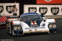 LE MANS, FRANCE: The Porsche 956 004  by Jürgen Barth, Hurley Haywood and Al Holbert is driven through the Mulsanne Corner during the 24 Hours of Le Mans on June 20, 1982, at Circuit de la Sarthe in Le Mans, France.
