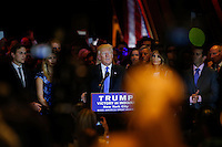 NEW YORK, NY - MAY 3 : U.S. Republican presidential candidate Donald Trump gives his post-election remarks on May 3, 2016 in Manhattan, New York. Front-running Republican candidate Trump won Indiana's Republican primary, moving him closer to claiming the party's nomination. Photo by VIEWpress