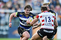 Nick Auterac of Bath Rugby takes on the Gloucester defence. West Country Challenge Cup match, between Bath Rugby and Gloucester Rugby on September 26, 2015 at the Recreation Ground in Bath, England. Photo by: Patrick Khachfe / Onside Images