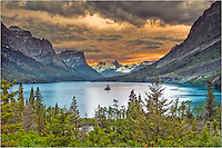 The evening seemed to glow in this image from the Rocky Mountains in Glacier National park. This is Saint Mary's Lake with Wild Goose Island in the distance.