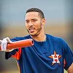 1 March 2017: Houston Astros infielder Carlos Correa awaits his turn in the batting cage prior to Spring Training action against the Miami Marlins at the Ballpark of the Palm Beaches in West Palm Beach, Florida. The Marlins defeated the Astros 9-5 in Grapefruit League play. Mandatory Credit: Ed Wolfstein Photo *** RAW (NEF) Image File Available ***