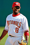 11 March 2006: Marlon Anderson, infielder for the Washington Nationals, looks to the dugout during a Spring Training game against the Los Angeles Dodgers. The Nationals defeated the Dodgers 2-1 in 10 innings at Space Coast Stadium, in Viera, Florida...Mandatory Photo Credit: Ed Wolfstein.