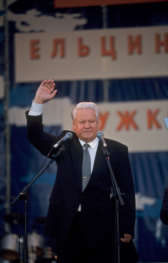 Moscow, Russia, June 1996..President Boris Yeltsin, accompanied by Mayor Yuri Luzhkov & Prime Minister Viktor Chernomyrdin, addresses election rally outside the Kremlin.