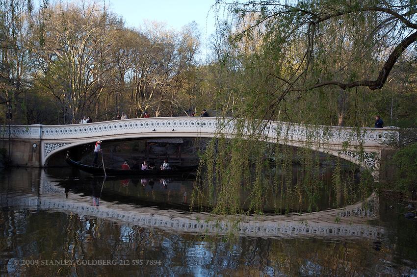 Visitors Cross over Bow Bridge, Central Park, New York City