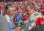 28 September 2014: Washington Nationals starting pitcher Jordan Zimmermann is interviewed by MASN Reporter Dan Kolko, both having been given the shaving cream treatment - Zimmermann having thrown his first career no-hitter against the Miami Marlins at Nationals Park in Washington, DC. The Nationals shut out the Marlins 1-0, caping the season with the first Nationals no-hitter in modern times. The win also notched a 96 win season for the Nats: the best record in the National League. Mandatory Credit: Ed Wolfstein Photo *** RAW (NEF) Image File Available ***