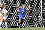 09 September 2011: Duke's Kaitlyn Kerr (5) reacts to scoring a goal. The Duke University Blue Devils defeated the Texas A&M Aggies 7-2 at Koskinen Stadium in Durham, North Carolina in an NCAA Division I Women's Soccer game.