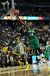 03 APR 2012: Devereaux Peters (14) of the University of Notre Dame attempts to block a shot of Destiny Williams (10) of Baylor University during the Division I Women's Basketball Championship held at the Pepsi Center in Denver, CO. Stephen Nowland/NCAA Photos