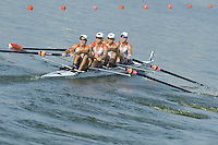 Brest, Belarus.  USA LM4- Bow Christopher MEYER, William NEWALL, Edward KING and Robin PRENDES, at the start, 2010. FISA U23 Championships. Friday,  23/07/2010.  [Mandatory Credit Peter Spurrier/ Intersport Images]