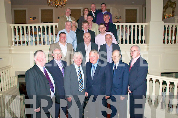 OUTGOING: Pictured at a function to honour outgoing members of the Kerry County Board held in the Listowel Arms Hotel on Friday night last were front l-r: Jerome Conway (chairman KCB), Teddy O'Sullivan (20 years service), Dr Dave Geaney (24 years), Gerald McKenna (43 years), John McMahon (23 years) and Sean Walsh (chairman, Munster Council). 2nd l-r: Patrick O'Sullivan, Michael McCarthy & John Joe O'Carroll. 3rd l-r: Eamonn O'Sullivan, Dermot Lynch and Pat McTigue. 4th l-r: Bernie Reen, Jer Galvin & Tony O'Keeffe. Back l-r: Willie O'Connor, Maureen O'Shea, Gerald Whyte & Joe Walsh.
