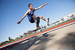 Los Altos High School Track and Field athlete, Brian Yeager participates in the long jump event.