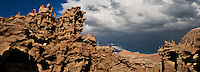 988000005 panoramic of thunderstorm clouds form up over the hoodoos in fantasy canyon blm lands utah united states