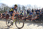 Roger Kluge (GER) Orica-Scott on the famous cobbled climb of Kemmelberg during Gent-Wevelgem in Flanders Fields 2017 running 249km from Denieze to Wevelgem, Flanders, Belgium. 26th March 2017.<br /> Picture: Eoin Clarke | Cyclefile<br /> <br /> <br /> All photos usage must carry mandatory copyright credit (&copy; Cyclefile | Eoin Clarke)
