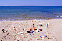 Ile du Havre-aux-Maisons, Iles de la Madeleine, Quebec, Canada - People sunbathing on Beach at Dune du Nord along Gulf of St. Lawrence - (North Dune, House Harbour Island, Magdalen Islands)