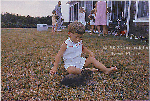 Hyannisport, MA, Squaw Island -- John F. Kennedy Jr. with puppy on in Hyannisport, Massachusetts on August 3, 1963. <br /> Mandatory Credit: Cecil Stoughton - The White House via CNP