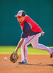 11 March 2013: Washington Nationals first baseman Tyler Moore fields grounders prior to a Spring Training game against the Atlanta Braves at Space Coast Stadium in Viera, Florida. The Braves defeated the Nationals 7-2 in Grapefruit League play. Mandatory Credit: Ed Wolfstein Photo *** RAW (NEF) Image File Available ***