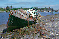 Haida Gwaii (Queen Charlotte Islands), Northern BC, British Columbia, Canada - Fishing Boat Shipwreck on Beach at Low Tide  in Masset Harbour, Graham Island