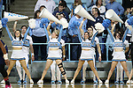 16 February 2017: UNC cheerleaders. The University of North Carolina Tar Heels hosted the Ramblin' Wreck from Georgia Tech University at Carmichael Arena in Chapel Hill, North Carolina in a 2016-17 NCAA Division I Women's Basketball game. North Carolina won the game 89-88.