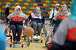 Disabled Palestinians take part in a training course to play basketball at al-Jazeera club in Gaza city on April 12, 2017. Disabled Palestinians from al-Jazeera club got many medals on thier participate in international championships. Photo by Mahmud Ajour