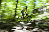 A mountain biker blurs through the woods while freeriding near Marquette. Michigan.