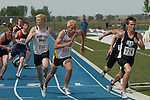 Start of the third leg of the 4x400 meter relay during the 4A Idaho  Track and Field Championships on May 19, 2012 at Middleton High School, Middleton, Idaho.