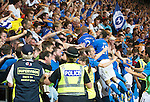 St Johnstone v FC Luzern...24.07.14  Europa League 2nd Round Qualifier<br /> Brian Easton and Stevie May celebrate with the fans<br /> Picture by Graeme Hart.<br /> Copyright Perthshire Picture Agency<br /> Tel: 01738 623350  Mobile: 07990 594431