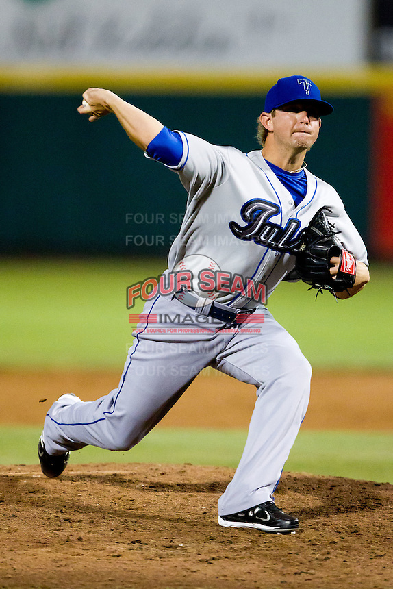 Joey Williamson (27) of the Tulsa Drillers delivers a pitch during a game against the Springfield Cardinals at Hammons Field on July 20, 2011 in Springfield, Missouri. Springfield defeated Tulsa 12-1. (David Welker / Four Seam Images)