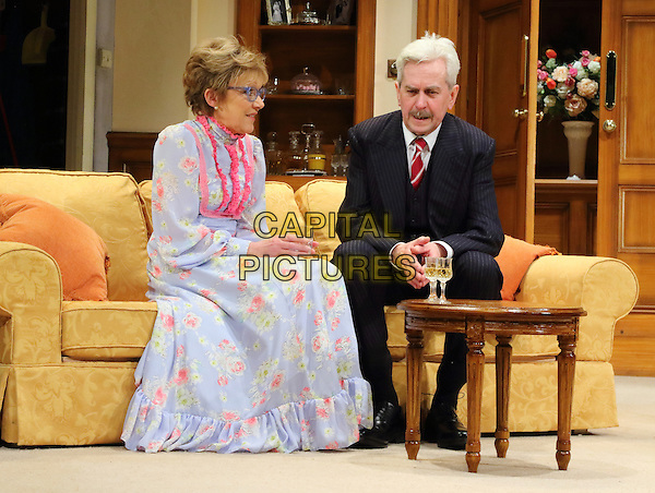 LONDON, ENGLAND - JGillian Wright as Mary Featherstone and Nicholas Le Prevost as 'Frank Foster'in 'How The Other Half Loves' Photocall at the Theatre Royal Haymarket, London on March 30th 2016<br /> CAP/ROS<br /> &copy;Steve Ross/Capital Pictures