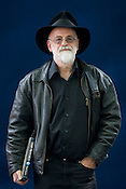 Terry Pratchett, best selling author, now diagnosed with Alzeihmers disease. Edinburgh International Book Festival, Edinburgh, Scotland. Edinburgh is the inaugural UNESCO City of Literature.
