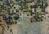 aerial photo map Mexican American border Imperial County at Calexico, Mexico, Mexicali, California