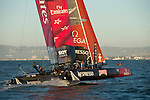 Emirates Team New Zealand in the final of the Match racing on day four of the America's Cup World Series, San Francisco. 6/10/2012