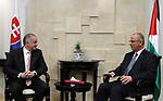 Palestinian prime minister Rami Hamdallah meets with Slovak President Andrej in the West Bank city of Ramallah on March 28, 2017. apaimages/Fadi Arouri/Pool