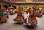 "Dancers performing in the Paro ""Tsechu"" or annual religious Bhutanese festival, Paro, Bhutan"