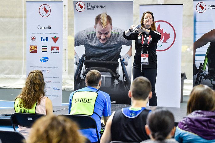 MONTREAL, QC - APRIL 29:  Jenny Davey addresses the guest during the 2017 Montreal Paralympian Search at Complexe sportif Claude-Robillard. Photo: Minas Panagiotakis/Canadian Paralympic Committee
