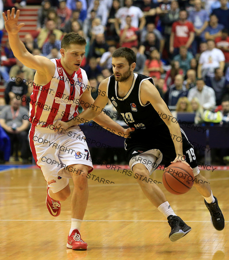 Kosarka ABA League season 2015-2016<br /> Crvena Zvezda v Partizan<br /> Andrej Magdevski (R) and Gal Mekel<br /> Beograd, 03.11.2015.<br /> foto: Srdjan Stevanovic/Starsportphoto&copy;