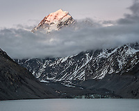 Last light on Aoraki Mount Cook 3724m with Hooker Lake and glacier below, Aoraki Mount Cook National Park, UNESCO World Heritage Area, Mackenzie Country, New Zealand, NZ