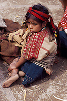 Little Maya girl of San Juan Atitan village, Cuchumatanes Mountains, Huehuetenango Department, Guatemala, Central America
