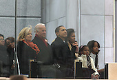 """Washington, DC - January 18, 2009 -- United States President-elect Barack Obama and his wife Michelle at the """"We Are One""""  The Obama Inaugural Celebration at the Lincoln Memorial on Sunday, January 18, 2009.  From left to right: Jill Biden, Vice President-elect Joseph Biden, President-elect Obama, Sasha Obama, Michelle Obama, unidentified, Malia Obama..Credit: Dennis Brack - Pool via CNP"""