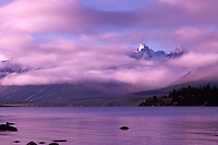 Ts'yl-os Provincial Park, Cariboo Chilcotin Coast Region, BC, British Columbia, Canada - Coast Mountains covered in Clouds at Chilko Lake