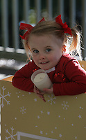 10/11/2010.Síofra O'Sullivan (age 3.5 years)  from Bayside at the launch of the Irish Cancer Society's new vanilla scented Christmas candle of hope in St. Stephen's Green, DublinThe candles will be available in Tesco stores nationwide from Friday, 12th November and retails at EUR5.99, all proceeds go directly to the Irish Cancer Society. Staff at Tesco nominated the Irish Cancer Society as its charity partner in March 2010 for two years..Photo: Gareth Chaney Collins