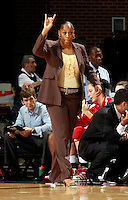 CHARLOTTESVILLE, VA- December 1: Head coach Felisha Legette-Jack of the Indiana Hoosiers signals a play during the game against the Virginia Cavaliers on December 1, 2011 at the John Paul Jones Arena in Charlottesville, Virginia. Virginia defeated Indiana 65-49. (Photo by Andrew Shurtleff/Getty Images) *** Local Caption *** Felisha Legette-Jack
