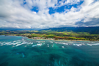 Waves roll towards the North Shore coastline of O'ahu.