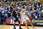 17 December 2013: Duke's Tricia Liston (32) and UConn's Kaleena Mosqueda-Lewis (23). The Duke University Blue Devils played the University of Connecticut Huskies at Cameron Indoor Stadium in Durham, North Carolina in a 2013-14 NCAA Division I Women's Basketball game. UConn won the game 83-61.